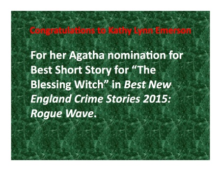 Agatha Nomination for Kathy Lynn Emerson, The Blessing witch